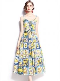 Europe Stylish Bowknot Collar Lemon Flowers Straps Dress
