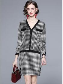 Europe Stylish Buttons V-neck Houndstooth Knitting Dress Set