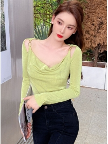 Pretty Sexy 2 Colors Heaps Collar Long Sleeve T-shirt