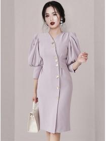Fashion OL Single-breasted Puff Sleeve Bodycon Dress