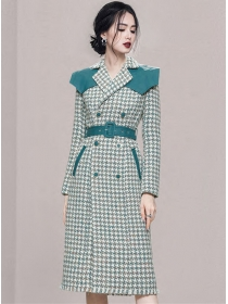 Handsome Fashion Double-breasted Houndstooth Tweed Coat