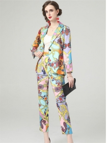 Brand Fashion Tailored Collar Flowers Slim Long Suits