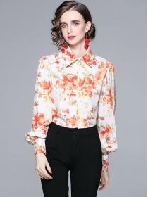 Wholesale Europe Shirt Collar Flowers Puff Sleeve Blouse