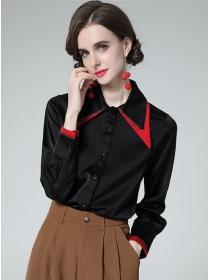 Pretty OL Fashion Color Block Shirt Collar Loosen Blouse