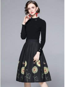 Autumn New Knitting Tops with Flowers Flouncing A-line Skirt