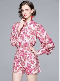 Charming Retro Stand Collar Puff Sleeve Flowers Short Suits