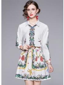 Europe Stylish Shirt Collar Flowers Pleated Two Pieces Dress