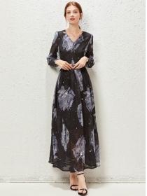 Retro Europe High Waist V-neck Flowers Chiffon Maxi Dress