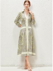 Europe Stylish Single-breasted Shirt Collar Flowers Maxi Dress