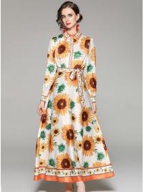 Europe Wholesale Tie High Waist Flowers Long Dress