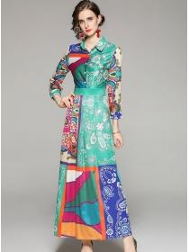 Pretty Women Fashion High Waist Flowers Shirt Maxi Dress