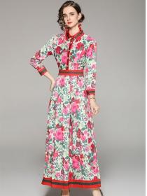 Europe Charming Shirt Collar Flowers Maxi Dress