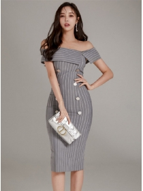 Wholesale Fashion Boat Neck Double-breasted Stripes Dress