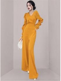 Brand Fashion Lace Flouncing Sleeve High Waist Long Jumpsuit