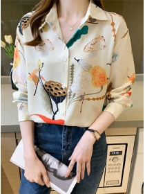 Fashion Autumn Lotus Printings Loosen Chiffon Blouse