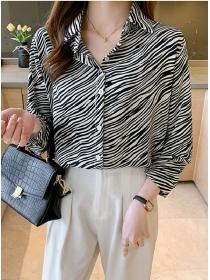 Retro Fashion 2 Colors Stripes Loosen Long Sleeve Blouse
