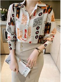 Wholesale Stylish Shirt Collar Loosen Long Sleeve Blouse