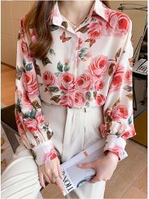Charming Fashion Flowers Puff Sleeve Loosen Chiffon Blouse