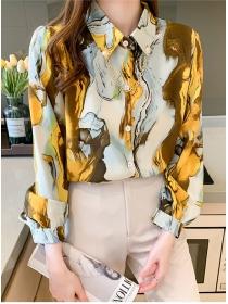 Stylish Korea 3 Colors Chain Collar Printings Loosen Blouse