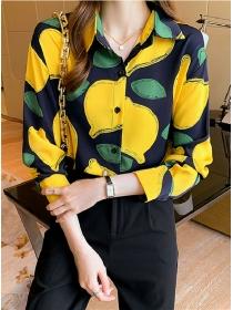 Pretty Women 2 Colors Lemon Printings Loosen Blouse