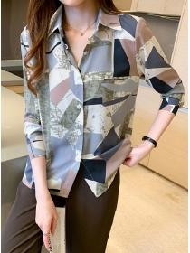 Fashion Lady 2 Colors Block Shirt Collar Long Sleeve Blouse