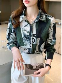 Retro Women Fashion 2 Colors Block Loosen Chiffon Blouse