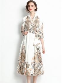 Charming Grace 3 Colors V-neck Tie Waist Flowers Long Dress