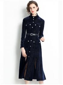 Brand Fashion Single-breasted Split Velvet Long Dress