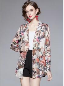 Retro Fashion Tailored Collar Flowers Long Sleeve Blouse