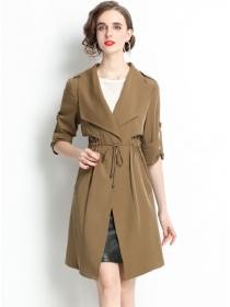 Modern Lady Tie Waist Wraps Collar Loosen Long Coat