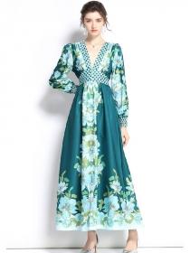 Pretty Europe Elastic High Waist V-neck Flowers Maxi Dress