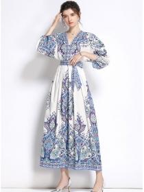 Retro Wholesale Tie Waist Puff Sleeve Flowers Maxi Dress