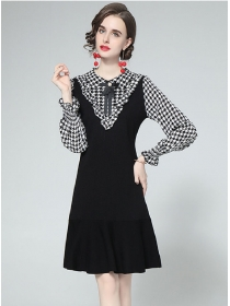 Europe Wholesale Bowknot Collar Houndstooth Knitting Dress