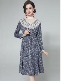 Retro Women Fashion Lace Collar Elastic Waist Flowers Dress