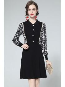 Wholesale Europe V-neck Houndstooth Sleeve Knitting Dress