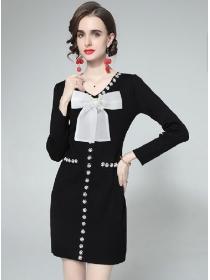 Europe Grace Bowknot Collar Beads Pearls Slim Dress
