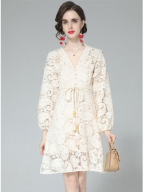 Brand Fashion 2 Colors V-neck Hollow Out Lace Puff Sleeve Dress