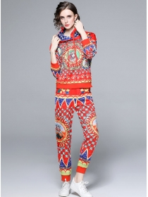 Retro Europe Fashion Flowers Hooded Two Pieces Long Suits