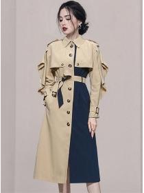 Retro Fashion 2 Colors Block Single-breasted Long Coat