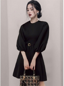 Wholesale Women Fashion Round Neck Puff Sleeve Dress
