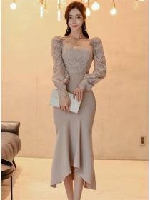 Elegant Fashion Lace Blouse with Fishtail Slim Long Skirt