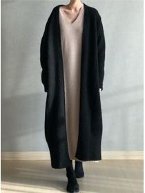 Wholesale Fashion 2 Colors Loosen Sweater Long Coat