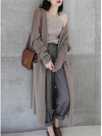 Autumn Wholesale 2 Colors Pockets Loosen Sweater Coat