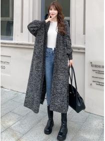 Hot Sell 3 Colors Pockets Loosen Sweater Long Coat