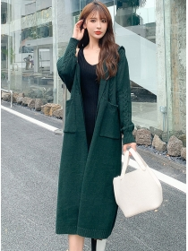 Casual Fashion 3 Colors Hooded Sweater Cardigan Coat