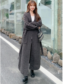Brand Fashion 2 Colors Tie Waist Thick Sweater Long Coat