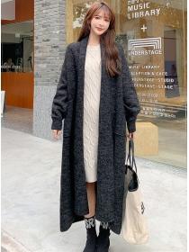 Winter New 3 Colors Pockets Loosen Cardigan Long Coat