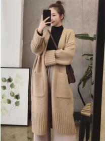 Wholesale Winter 3 Colors Pockets Loosen Long Cardigan