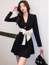 Pretty Women Tailored Collar Tie Bowknot Waist A-line Dress