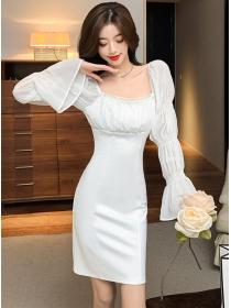 Charming Grace Boat Neck Puff Sleeve Slim Dress